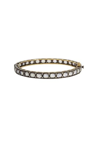 Loriann - Gold Thin Moonstone Diamond Bracelet