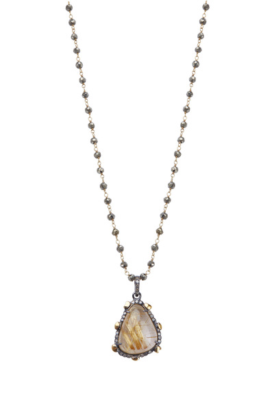 Loriann - Gold Rutilated Quartz Pyrite Diamond Necklace