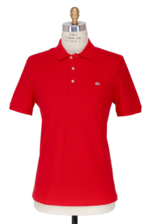 Lacoste Red Stretch Cotton Slim Fit Polo