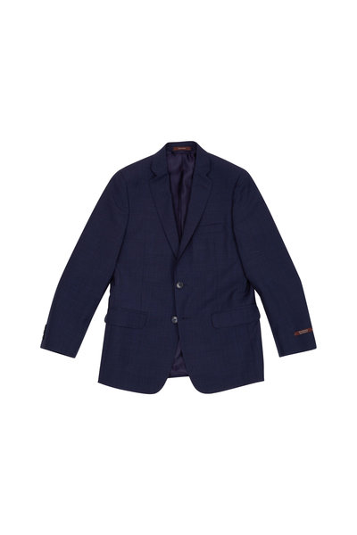 Hickey Freeman Children - Boy's Hudson Blue Tonal Micro Check Wool Suit