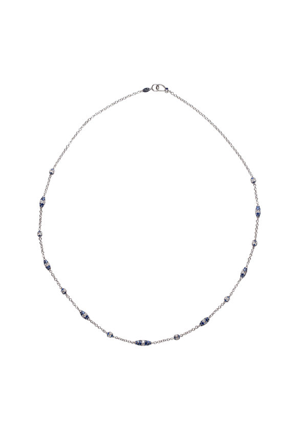 Paul Morelli 18K White Gold Sapphire Pipette Lariat Necklace