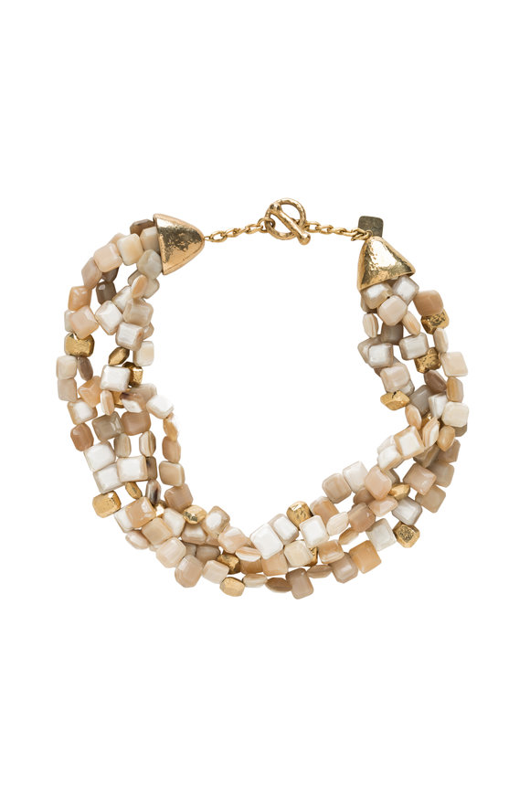 Ashley Pittman Light Horn Dhahabu Beaded Necklace