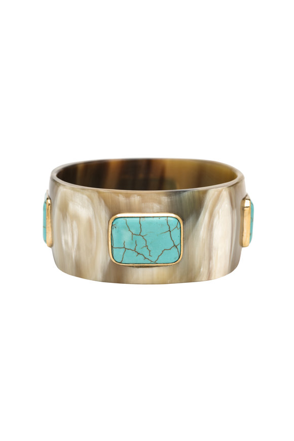 Ashley Pittman Light Horn Turquoise Kutega Bangle
