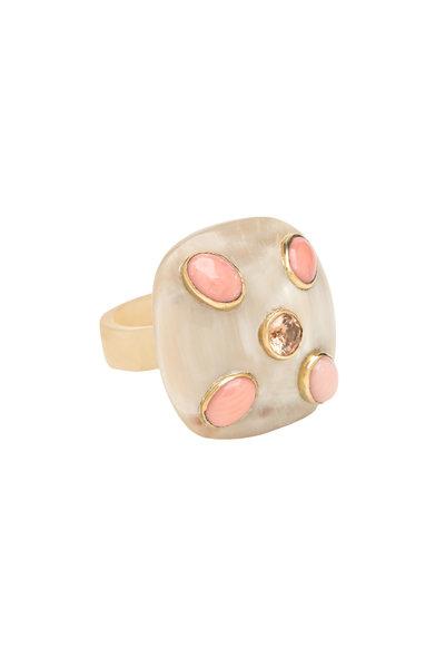 Ashley Pittman - Light Horn Coral & Pyrite Ishi Ring