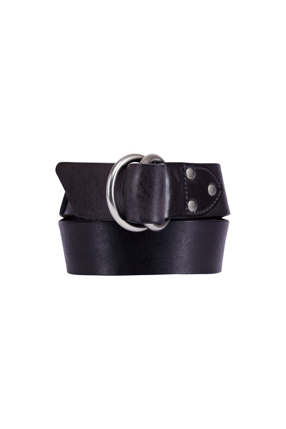 RRL Black Italian Leather Double Ring Belt