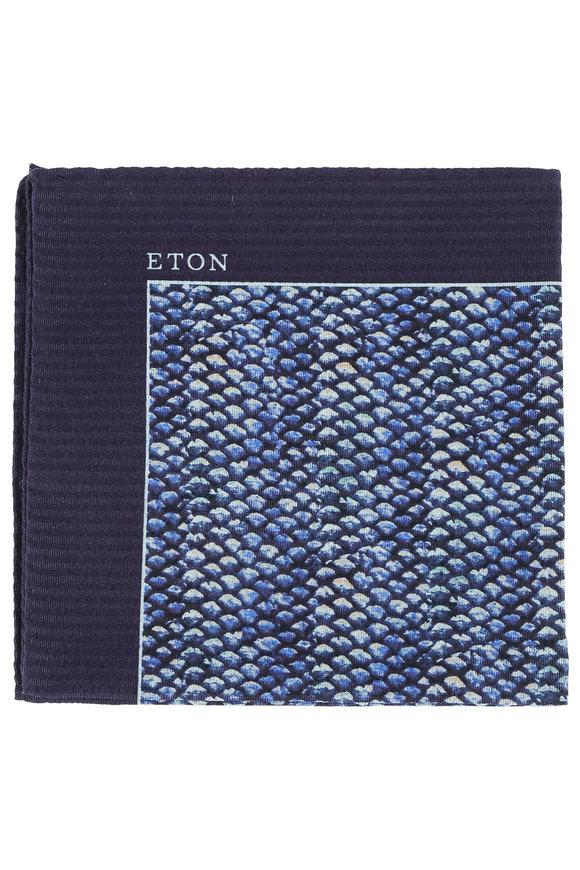Eton Blue Fish Scale Print Cotton & Silk Pocket Square