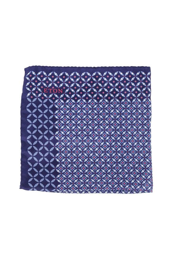 Eton Blue Medallion Print Silk Pocket Square