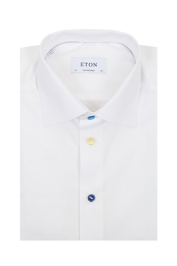 Eton White Poplin Multi-Color Button Dress Shirt