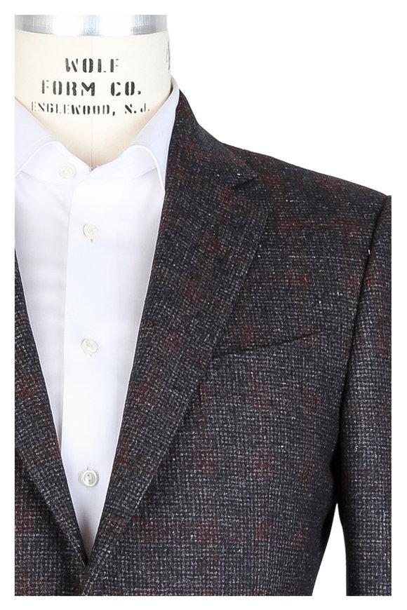 Ermenegildo Zegna Gray & Wine Houndstooth Wool Blend Sportcoat