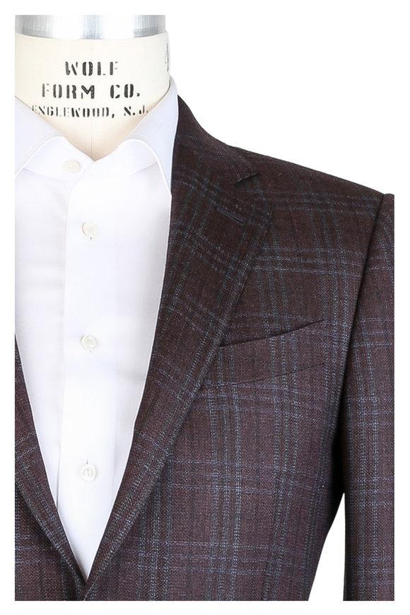 Ermenegildo Zegna Russet Windowpane Wool Sportcoat