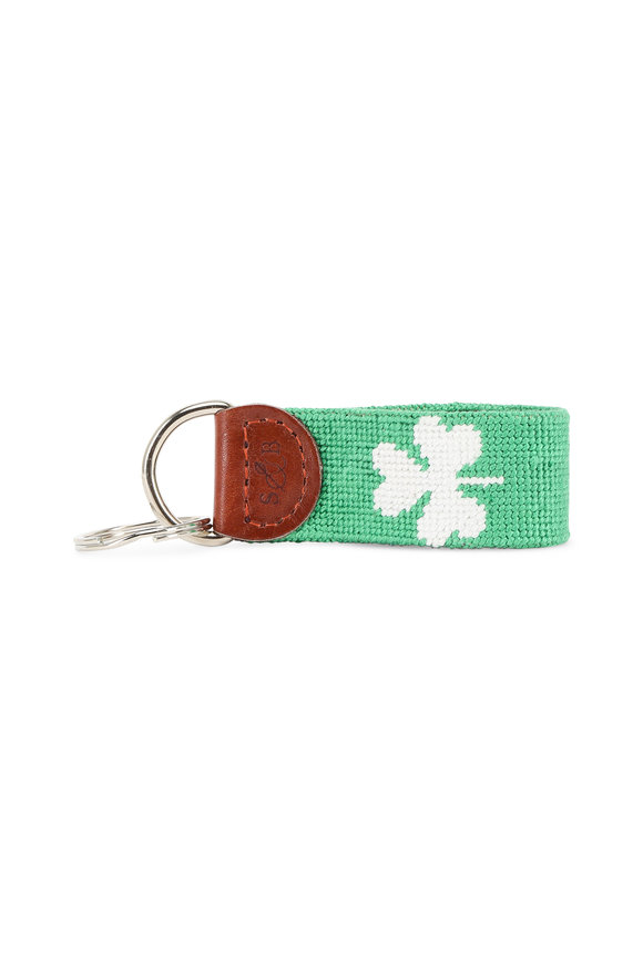 Smathers & Branson Green Shamrock Needlepoint Key Fob