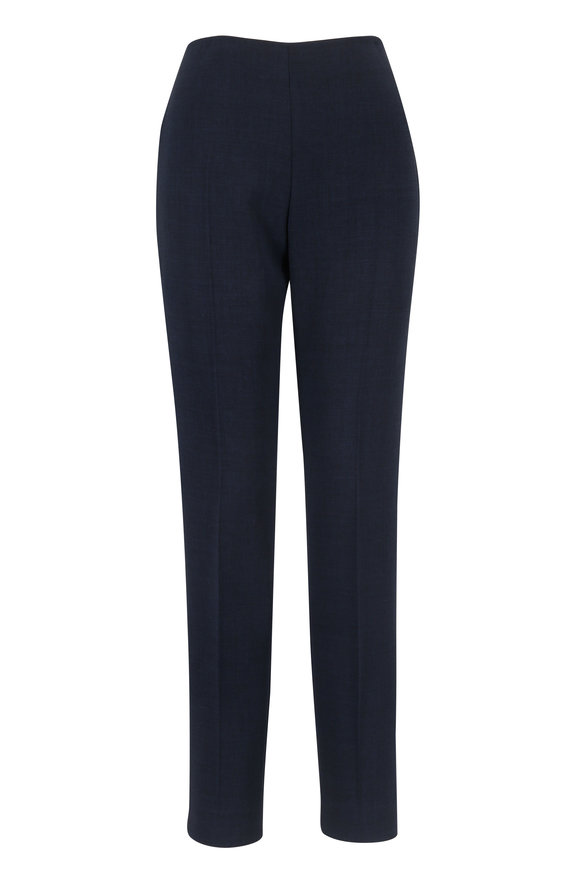 Akris Midnight Double-Faced Wool Side Zip Pant