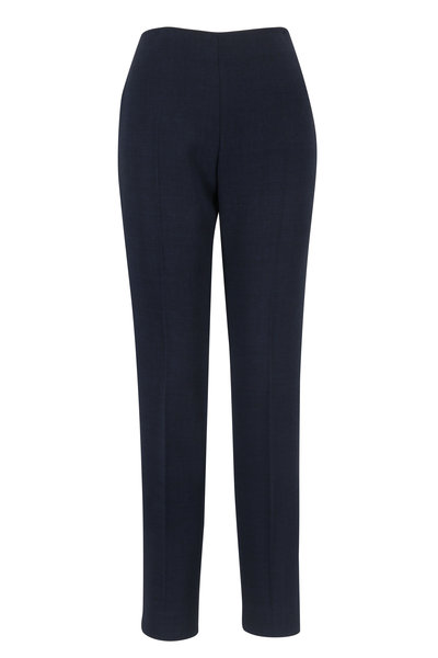 Akris - Midnight Double-Faced Wool Side Zip Pant