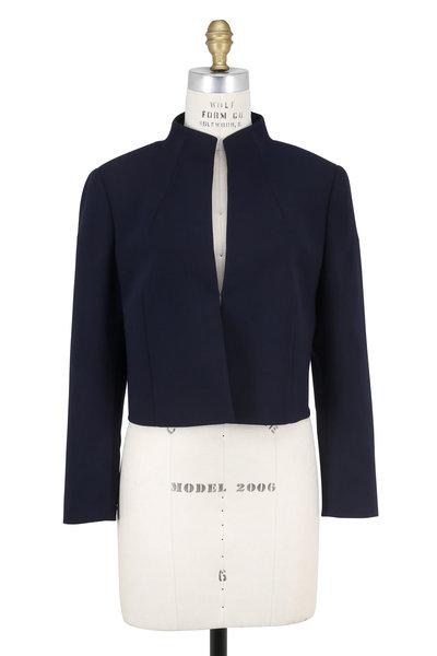 Akris - Pandora Navy Stretch Wool Bolero Jacket