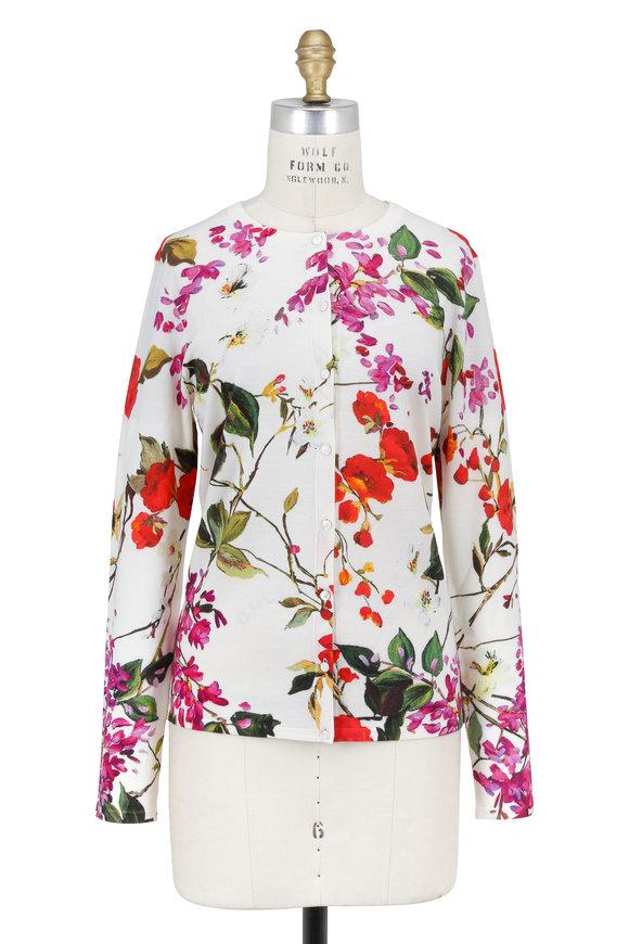 Escada Seflan White Multicolor Floral Button Cardigan
