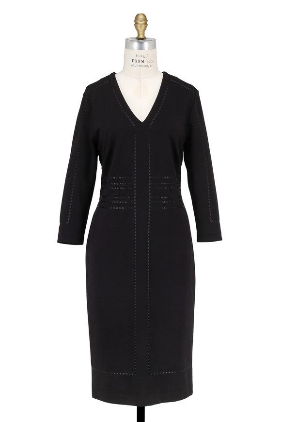 Escada Dixi Black V-Neck Three-Quarter Sleeve Dress