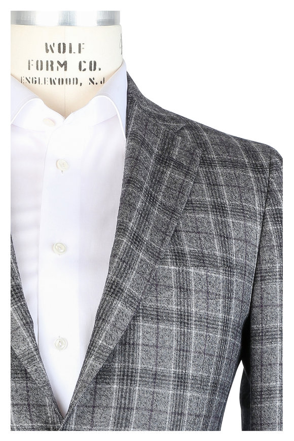 Kiton Gray & Plum Plaid Cashmere Suit