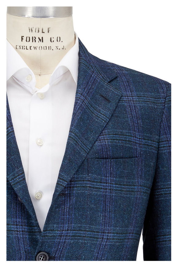 Kiton Navy Blue & Emerald Plaid Wool Sportcoat
