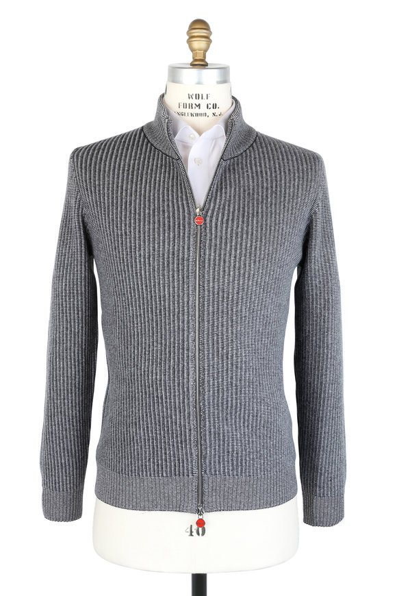 Kiton Gray Two-Tone Cashmere Zip Sweater