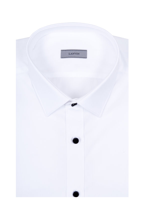 Lanvin White Poplin Black Buttons Formal Dress Shirt