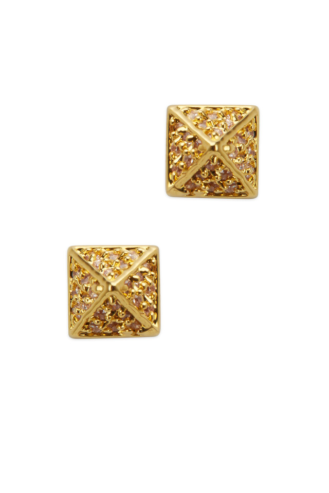 Yellow Gold Pavé-Set Pyramid Stud Earrings