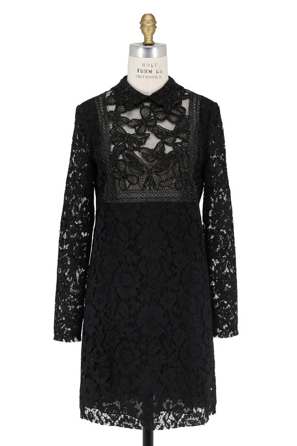 Valentino Black Lace & Beaded Collar Long Sleeve Dress