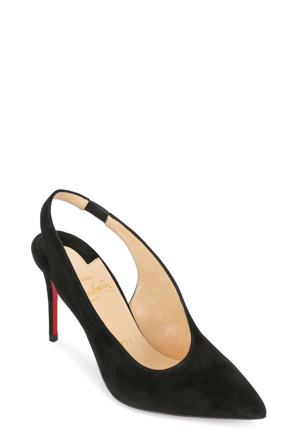 Christian Louboutin Rivafish Black Suede Wrap-Around Slingback, 85mm