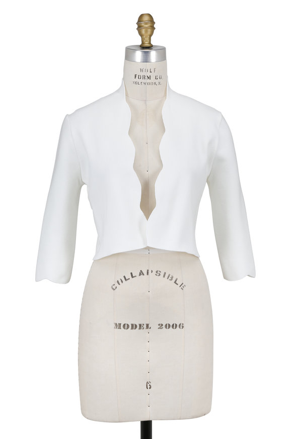Lela Rose White Scallop Trim Bolero