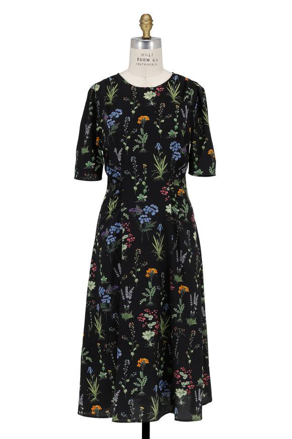 Altuzarra Black Multicolor Floral Print Elbow Sleeve Dress