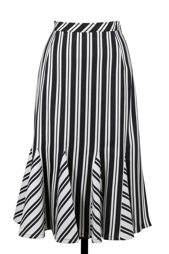 Altuzarra Black & White Crocus Striped Midi Skirt