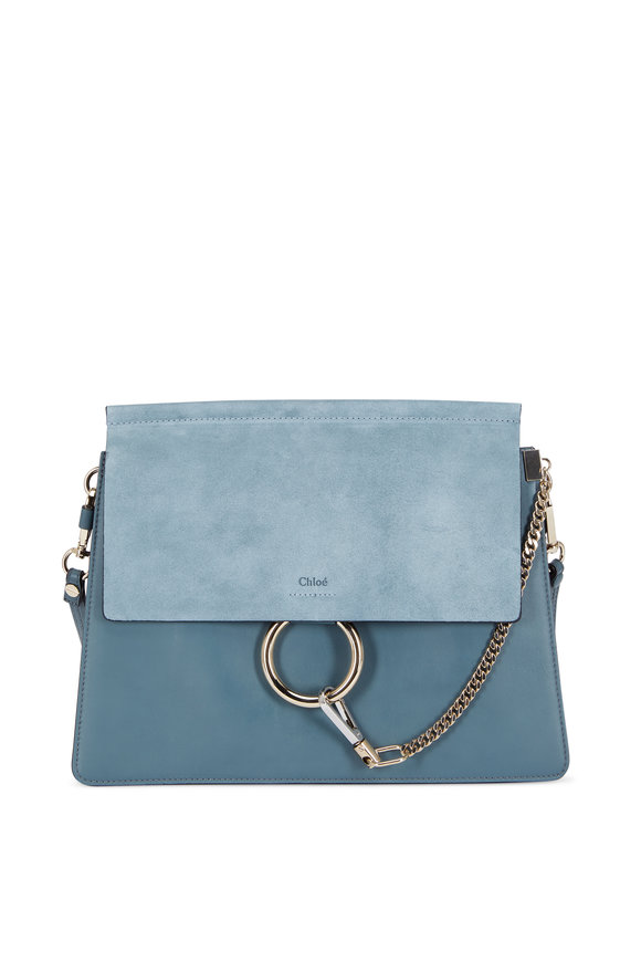 Chloé Faye Cloud Blue Leather & Suede Shoulder Bag