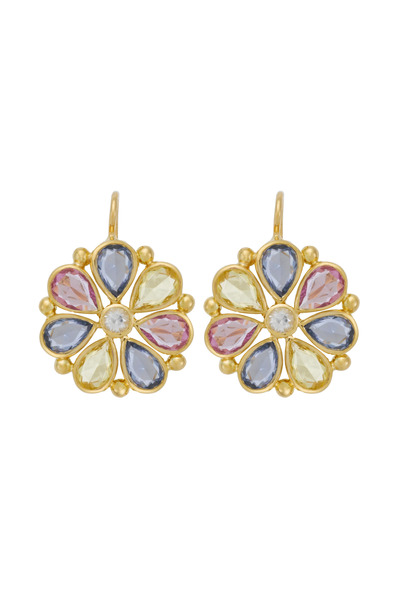 Temple St. Clair - Large Sapphire Flower Earrings