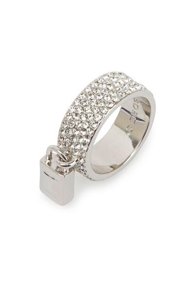 Eddie Borgo - Sterling Silver Pavé-Set Crystal Padlock Ring