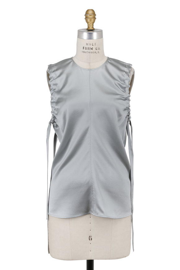 Helmut Lang Dove Gray Silk Ruched Armhole Tank