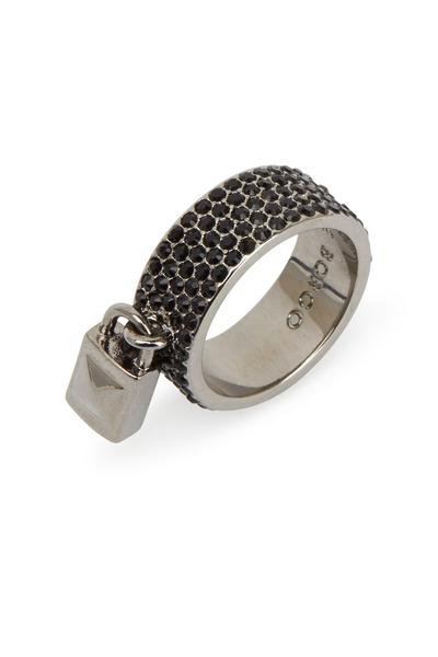Eddie Borgo - Gunmetal Silver Pavé-Set Crystal Padlock Ring