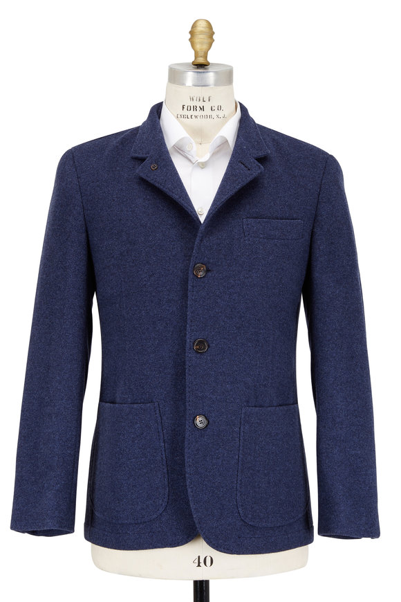 Brunello Cucinelli Blue Denim Water Repellent Cashmere Blazer