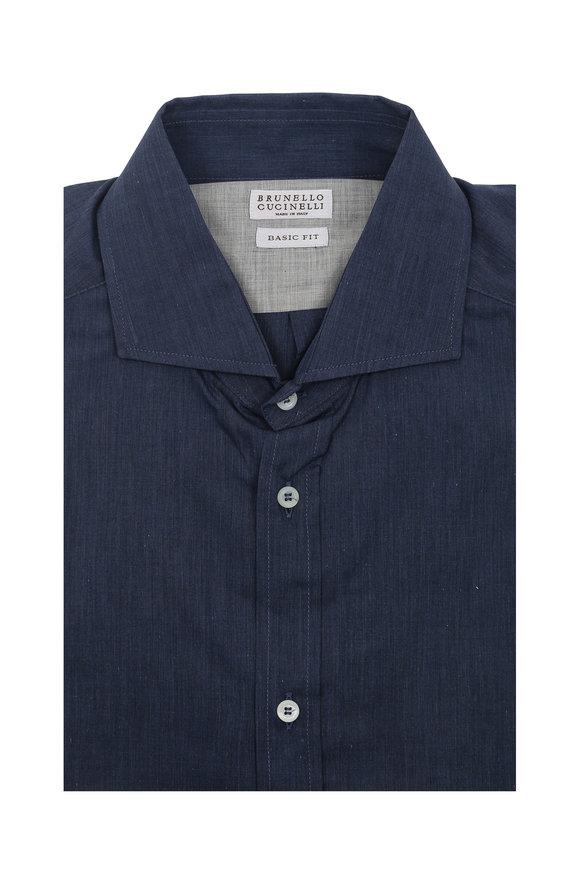 Brunello Cucinelli Solid Blue Cotton Sport Shirt
