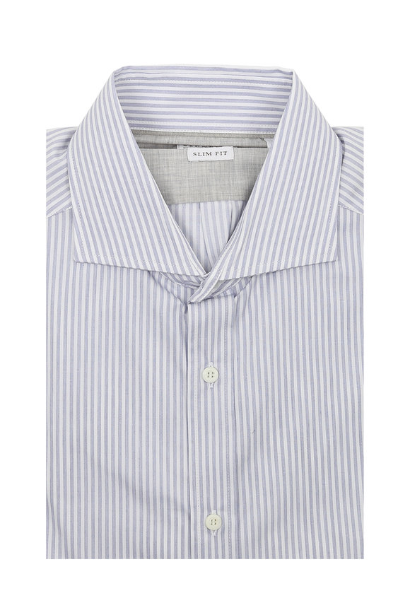 Brunello Cucinelli Light Blue Stripe Slim Fit Sport Shirt