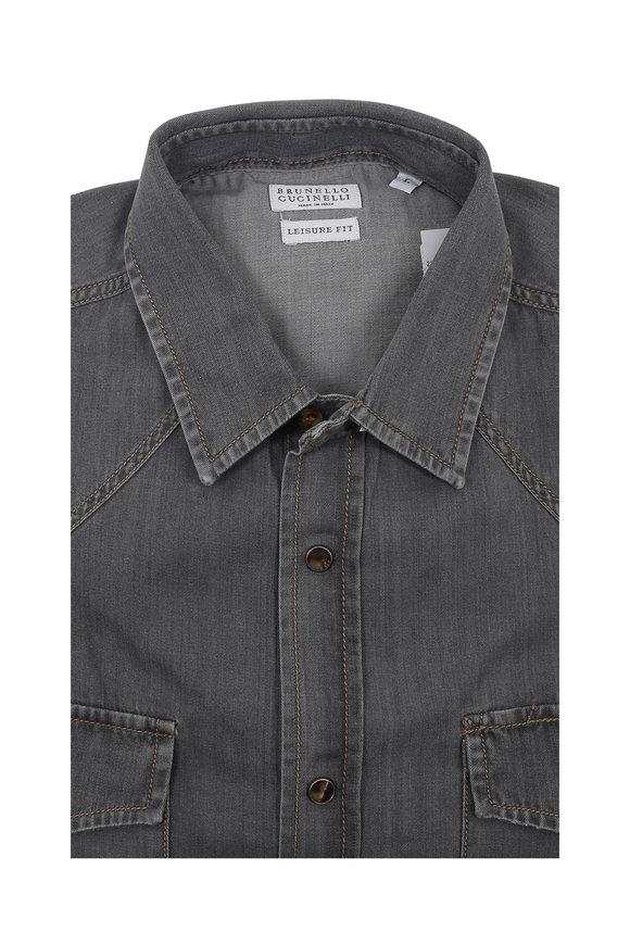 Brunello Cucinelli Grey Western Leisure Fit Sport Shirt