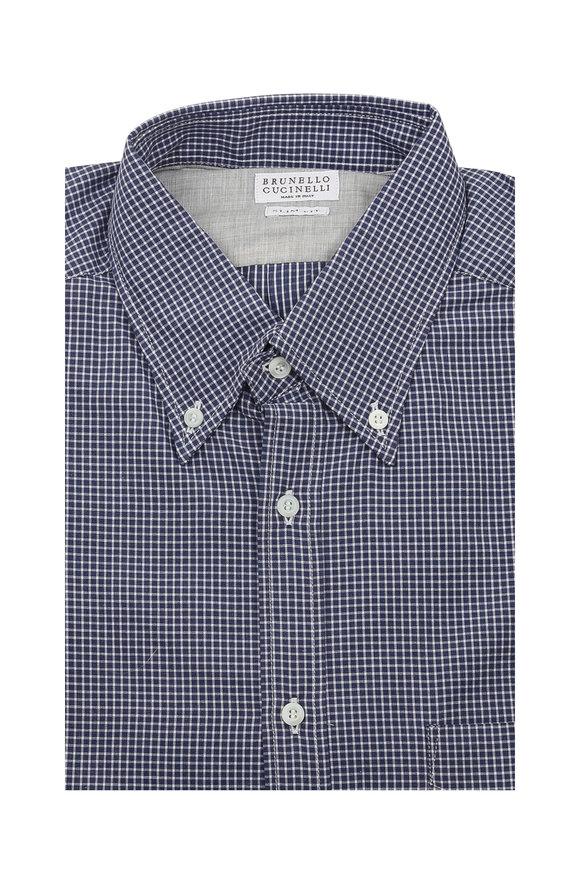Brunello Cucinelli Navy Mini Check Slim Fit Sport Shirt