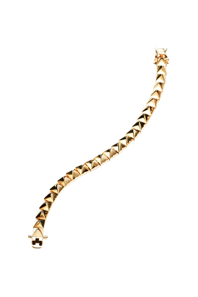 Yellow Gold Plated Pyramid Bracelet
