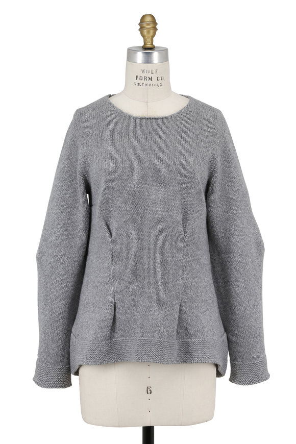 Alexander McQueen Gray Cashmere Tuck Pleat Detail Sweater