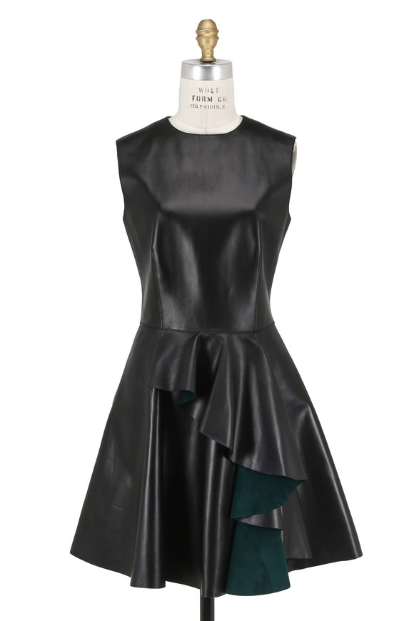 Alexander McQueen Black Leather Ruffle Front Sleeveless Skater Dress