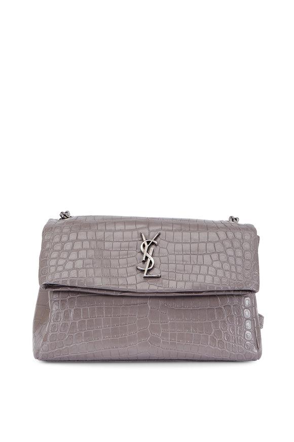 Saint Laurent West Hollywood Gray Stamped Croc Shoulder Bag