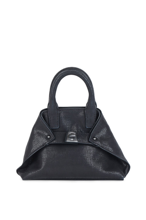 Akris Ai Black Metallic Leather Lamé Micro Crossbody