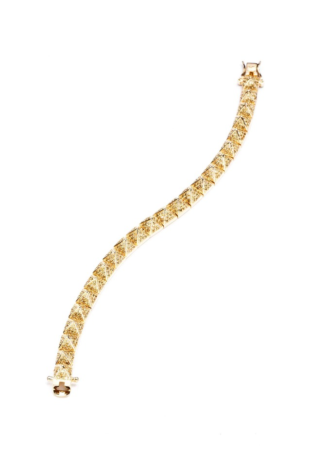 Yellow Gold Plate Pavé-Set Pyramid Bracelet