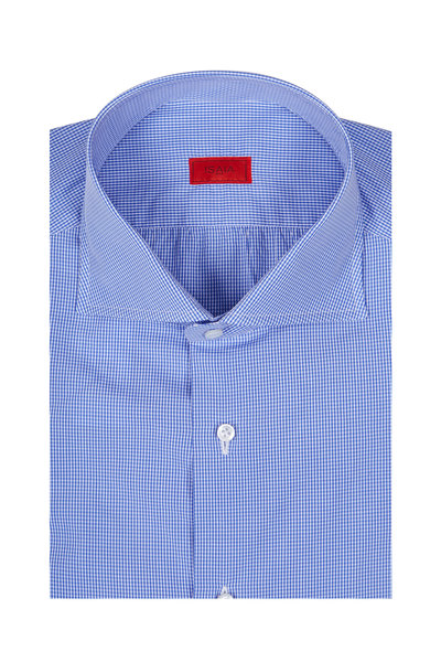 Isaia - Blue & White Gingham Dress Shirt