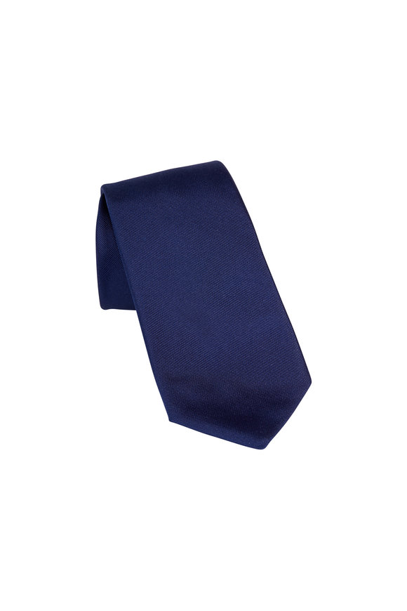 Paolo Albizzati Navy Blue Silk Skinny Necktie