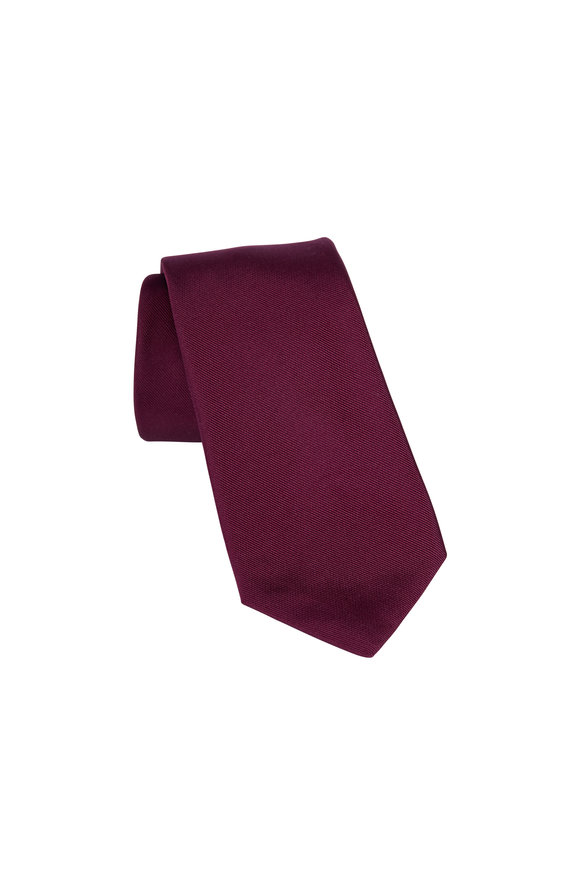 Paolo Albizzati Burgundy Silk Skinny Necktie