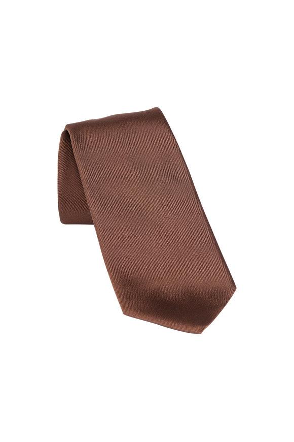 Paolo Albizzati Brown Silk Skinny Necktie